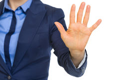 Closeup on business woman showing 5 fingers Royalty Free Stock Image
