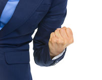 Closeup on business woman showing fist pump Royalty Free Stock Photo