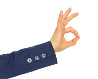 Closeup on business woman showing ok gesture Royalty Free Stock Photo