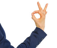 Closeup on business woman showing ok gesture Royalty Free Stock Photos
