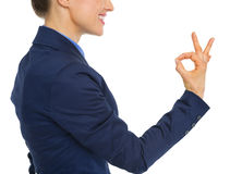 Closeup on business woman showing ok gesture Royalty Free Stock Images