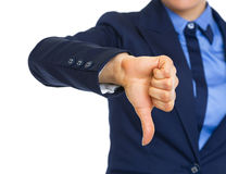 Closeup on business woman showing thumbs down Stock Photography
