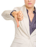 Closeup on business woman showing thumbs down Stock Photos