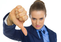 Closeup on business woman showing thumbs down Royalty Free Stock Photography