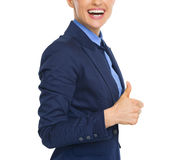Closeup on business woman showing thumbs up Royalty Free Stock Image