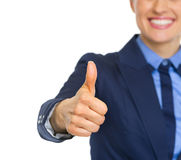 Closeup on business woman showing thumbs up Royalty Free Stock Photography