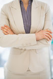 Closeup on business woman standing in office Royalty Free Stock Photos