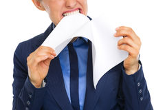 Closeup on business woman tearing documents Royalty Free Stock Photos