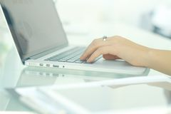 Closeup.business woman typing on a laptop. People and technology Stock Photo