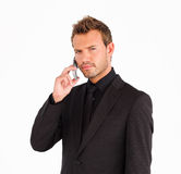Closeup of businessman with cell phone Stock Photos