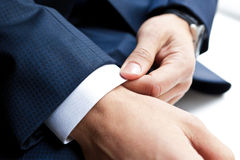 Closeup of businessman hands Royalty Free Stock Photography