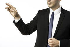 Closeup businessman holding his right hand up Royalty Free Stock Photography