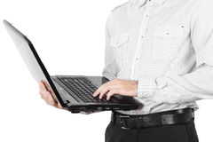 Closeup of businessman with laptop isolated Stock Photo