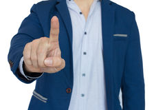 Closeup of businessman pointing. A businessman pointing , success concept Royalty Free Stock Image