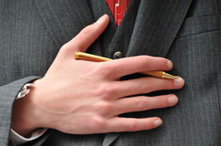 Closeup of a Businessman's pen Stock Photography