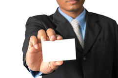 Closeup businessman show name card, included clipping path Stock Photos