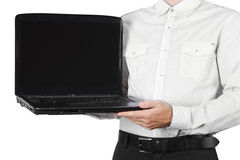 Closeup of businessman showing laptop isolated Royalty Free Stock Images
