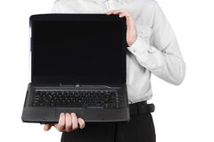 Closeup of businessman showing laptop isolated Stock Photos