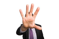 Closeup of a businessman with stop gesture Stock Images