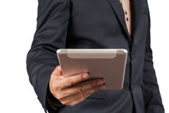 Closeup of a Businessman with a tablet computer. Royalty Free Stock Image