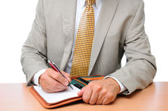 Closeup Businessman Writing in Notebook Royalty Free Stock Photo