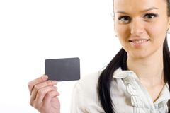 Closeup of a businesswoman holding a blank card Stock Image