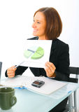 Closeup Businesswoman Holding Pie Chart Stock Images