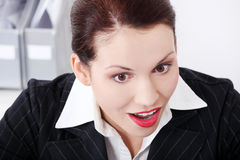 Closeup on businesswoman`s surprised face. Royalty Free Stock Photos