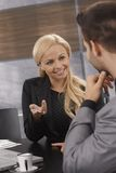 Closeup businesswoman talking royalty free stock photo