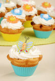 Closeup of butterfly cupcake Royalty Free Stock Images