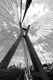 Closeup of cable stayed bridge. View from below. Marginal Pinheiros, Sao Paulo, Brazil royalty free stock image
