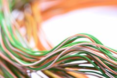 Cable and wire in computer network systems Royalty Free Stock Images