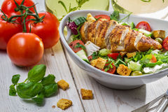 Closeup of caesar salad and fresh ingredients stock image