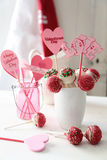 Closeup of cake pops for Valentine's Day Royalty Free Stock Photography