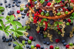 Closeup of cake wild fresh berry fruits Royalty Free Stock Photography