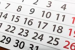 Closeup of calendar Stock Image