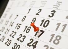 Closeup calendar page. With drawing-pin Stock Image