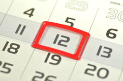 Closeup of calendar page Royalty Free Stock Photo
