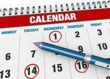Closeup calendar page Stock Photo