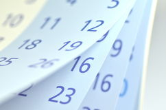 Closeup of calendar pages Royalty Free Stock Images