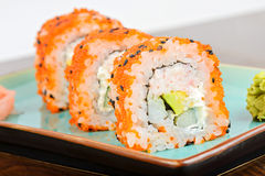 Closeup California maki sushi in row Royalty Free Stock Photography