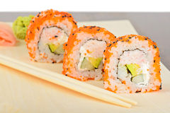 Closeup California maki sushi in row Stock Photo