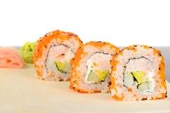Closeup California maki sushi in row Stock Image