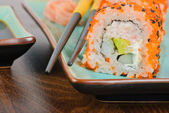 Closeup California maki sushi on the table Stock Photos