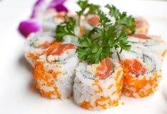 Closeup california salmon sushi rolls Royalty Free Stock Photo