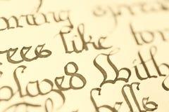 Closeup of calligraphy Stock Photo