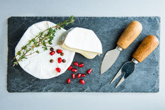 Closeup on camembert on stone substrate Stock Image