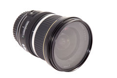 Closeup of camera lens, advanced photo equipment. On a white background stock photography