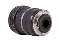 Closeup of camera lens, advanced photo equipment. On a white background royalty free stock images