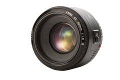 Closeup camera lens isolated on white background Stock Image